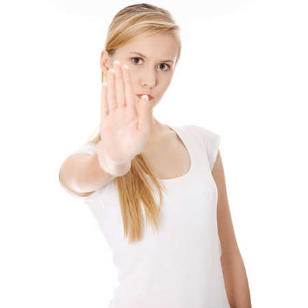 Hold on, Stop gesture showed by young woman hand Stock Photo - 9034413