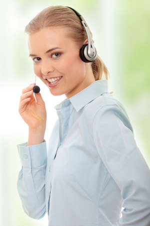 contact center: Call center woman with headset.