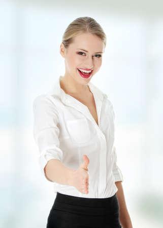 extend: Business woman extend hand