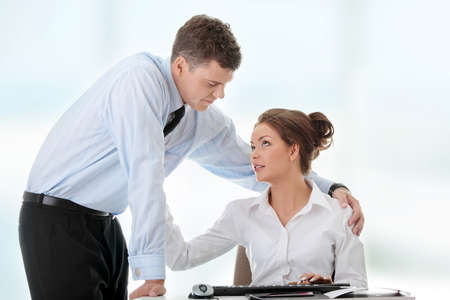Job romance concept. Business people flitring. photo