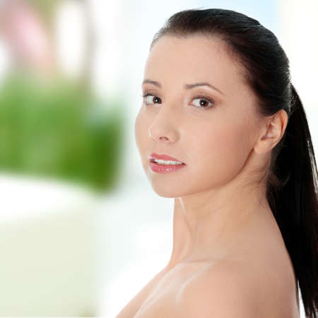Beautiful woman's face with fresh clean skin photo