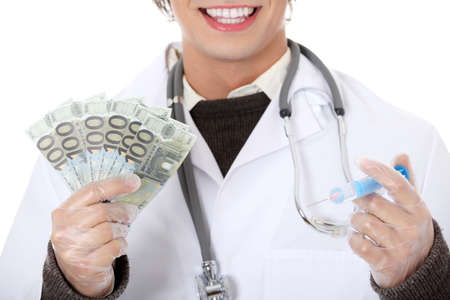 Happy doctor with money. Isolated on white background Stock Photo - 9298760