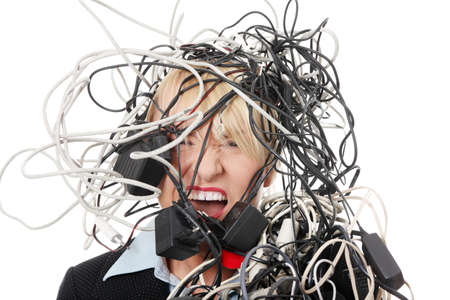 head support: Mature businesswomans screaming in cables. Isolated on white background.
