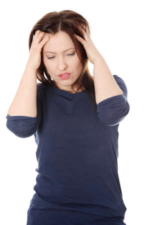 Woman with headache holding her hand to the head. Stock Photo - 9352763