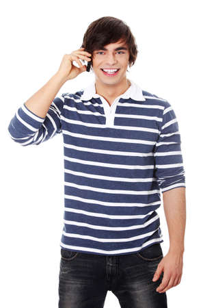 A handsome happy man using mobile phone, isolated on white  photo
