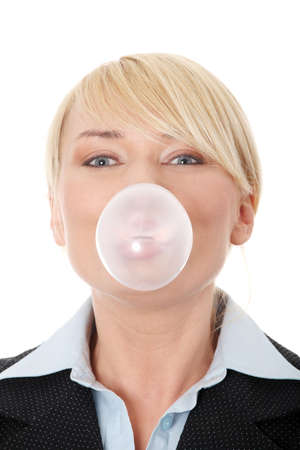 gums: Middle age businesswoman chewing a gum