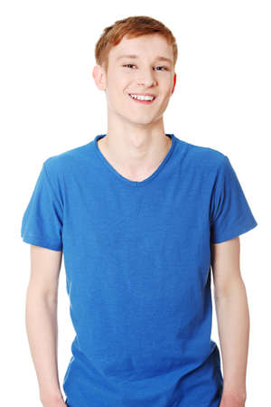young boy smiling: Cheerful teen boy isolated on white background  Stock Photo