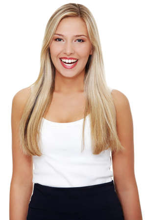 Portrait of a happy young business woman standing against white background Stock Photo - 10601874
