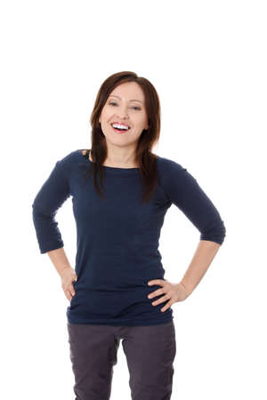 40 year old woman: Portrait of happy forty years old woman in studio  Stock Photo