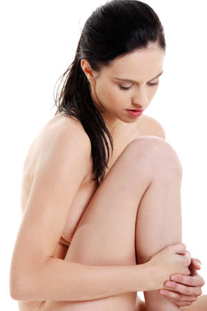 Attractive caucasian naked girl closeup over white background. Stock Photo - 11254175