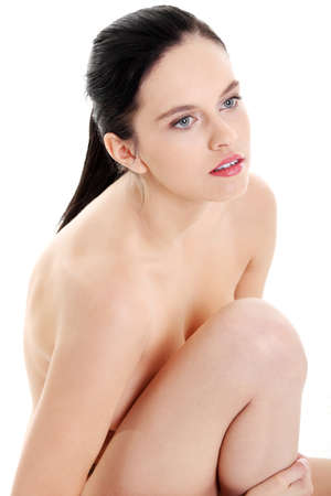 Attractive caucasian naked girl closeup over white background. Stock Photo - 11254165
