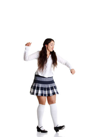 tap dance: Female tap dancer, isolated on white