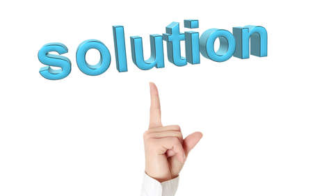 Solution concept. Businesswoman hand pointing on 3d word: solution Stock Photo - 12694291
