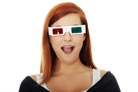 enjoymant: Young beautiful woman with 3d glasses, isolated on white