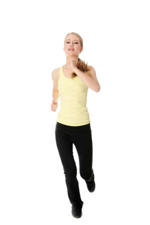 mind body soul: Young woman doing exercise , isolated on white