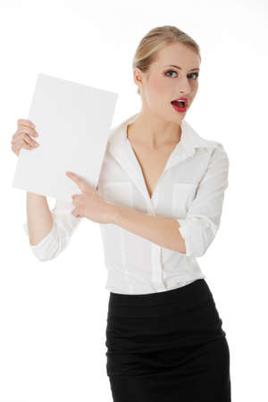 A businesswoman holding white board. Isolated photo