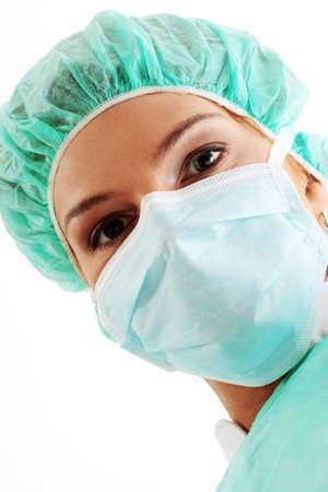 enfermera con cofia: Close-up retrato de la enfermera o el m�dico de la m�scara quir�rgica Foto de archivo