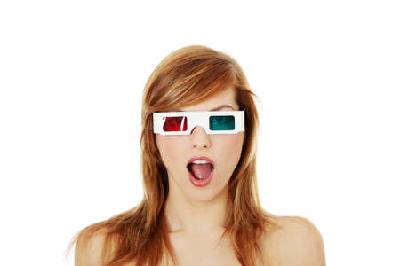 Beautiful young woman in 3d cinema glasses isolated on white background photo