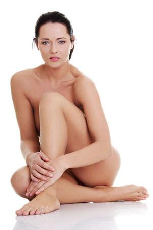 naked woman: Художественный выстрелил красивая голая женщина, изолированных на белом фоне