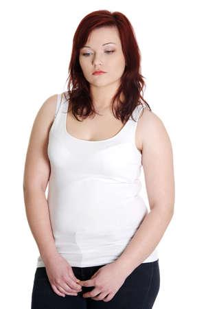 Closeup portrait of sad woman. Isolated on white. Stock Photo - 13188593
