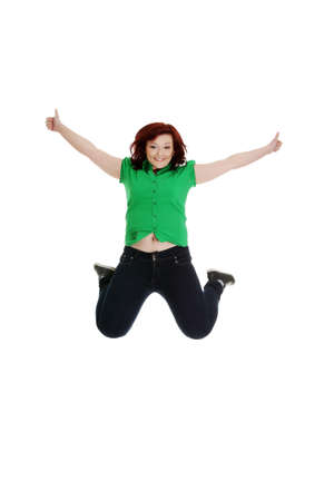 Jumping happy woman with thumbs up,  isolated on white Stock Photo - 13187781