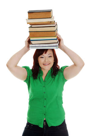Young woman (student) with books on her head , isolated on white Stock Photo - 13188507