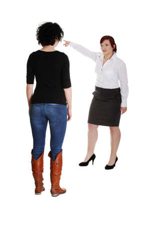 Businesswoman giving reprimand to worker. Isolated on white photo