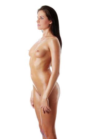 ragazza nuda: Nudo di donna sexy bagnato, isolato su bianco