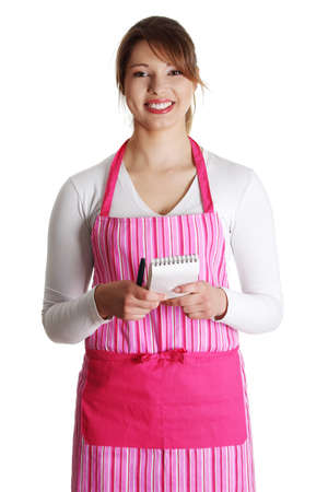 An attractive young waitress on a white background  photo