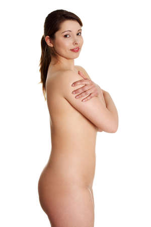 nude female figure: Nude young overweight woman isolated on white background