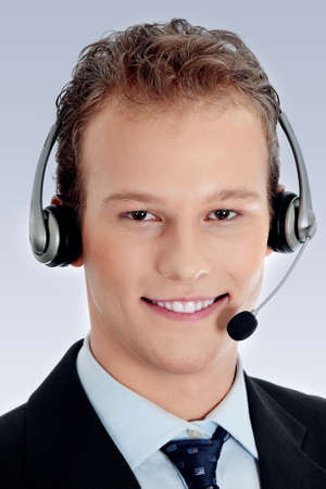 Charming customer service representative with headset on photo