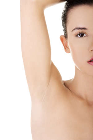 adult armpit: Womans armpit isolated on white background  Stock Photo