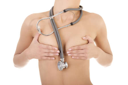 Topless fit woman torso with sthetoscope, isolated on white background Stock Photo - 15070245