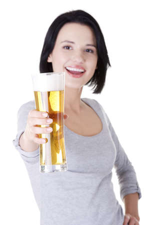 Beautiful and sexy young woman with beer, isolated on white