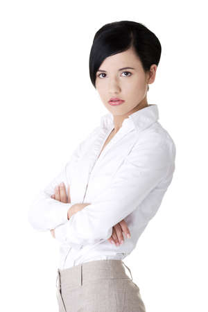 executive assistants: Confident business woman - isolated over a white