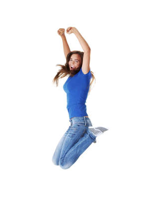 Jumping student girl, isolated on white background