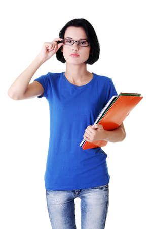 fresh graduate: Student woman with notebooks, isoalted on white background  Stock Photo