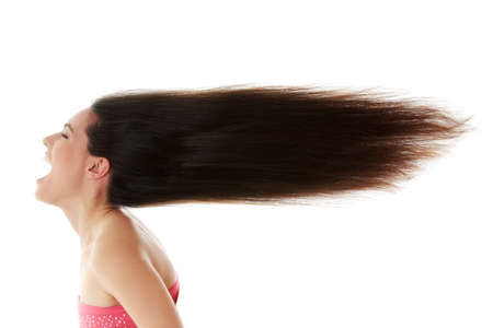 Young beautiful caucasian woman with long hairs  photo