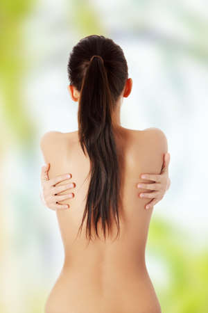 nude woman back: Portrait of the beautiful naked woman back