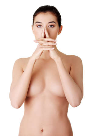 naked lady: Beautiful topless woman  Spa concept