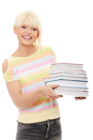 Young caucasian woman (student) with books , isolated on white photo