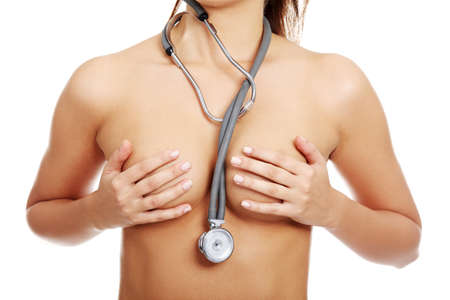Topless fit woman torso with stethoscope, isolated on white background  Stock Photo - 16681821