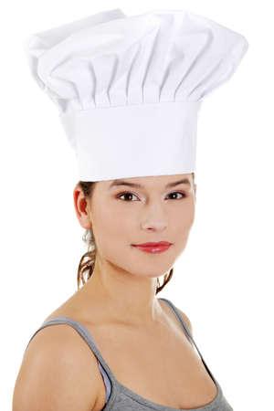 enjoymant: Young beautiful female cook, isolated on white