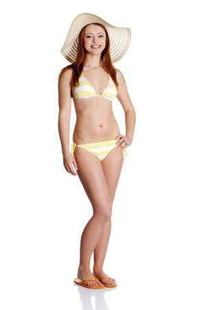ni�as en bikini: Mujer Belleza de verano en bikini aislado en estudio.