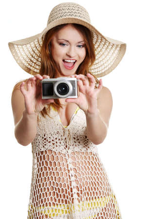 Happy summer woman making photos photo
