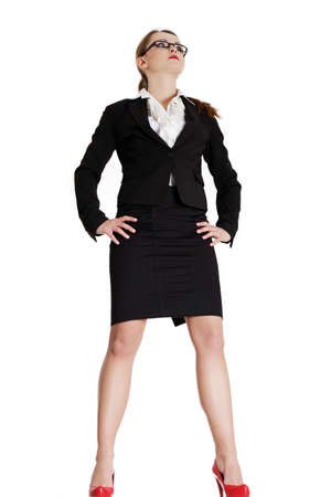 woman full body: Businesswoman looking away, isolated on white Stock Photo