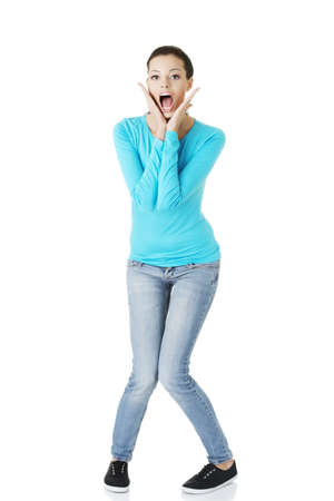 going crazy: Woman stressed is going crazy in frustration. Stock Photo