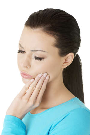 Vrouw met tandpijn, geïsoleerd op wit Stockfoto
