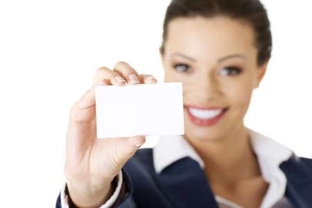 businesscard: Beautiful smiling businesswoman with businesscard. Isolated on white Stock Photo