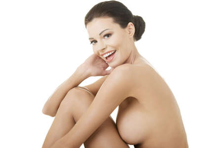 Sexy happy fit naked woman with healthy clean skin, isolated on white background Stock Photo - 16774363
